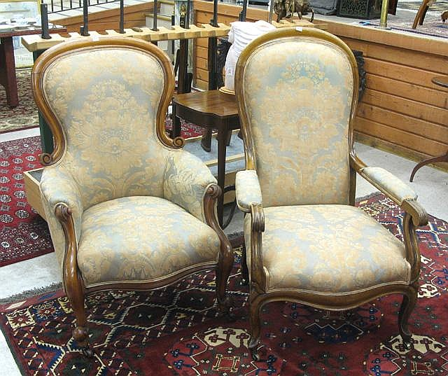 TWO SIMILAR VICTORIAN ARMCHAIRS, English, mid-19th