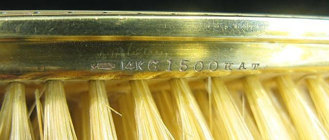 TWELVE PIECE 14K SOLID GOLD MOUNTED DRESSER SET: