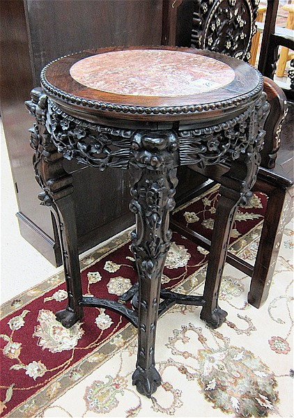 CARVED HONGMU PEDESTAL TABLE, Chinese export,