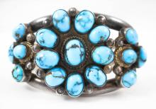 NATIVE AMERICAN SILVER AND TURQUOISE BRACELET, the