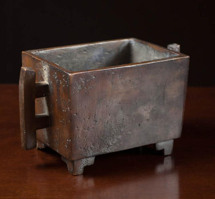 CHINESE PATINATED BRONZE CENSOR, footed and handle