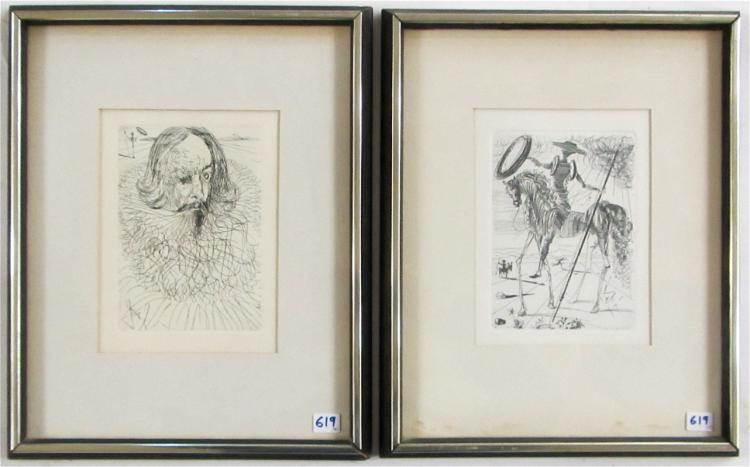 AFTER SALVADOR DALI, TWO ETCHINGS (Spain, 1904-198