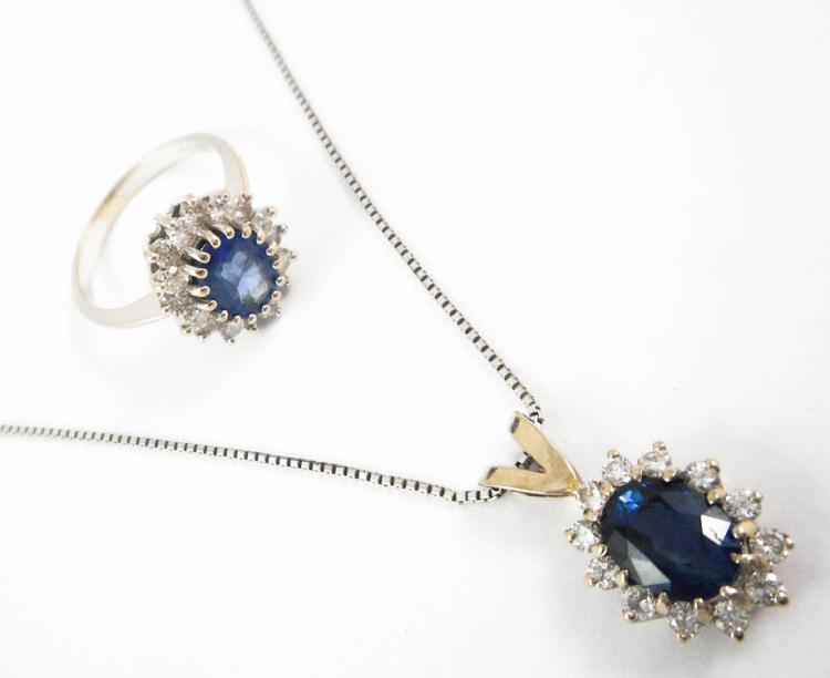 TWO ARTICLES OF SAPPHIRE AND DIAMOND JEWELRY, incl
