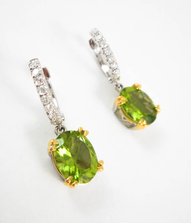 PAIR OF PERIDOT AND DIAMOND DANGLE EARRINGS, each