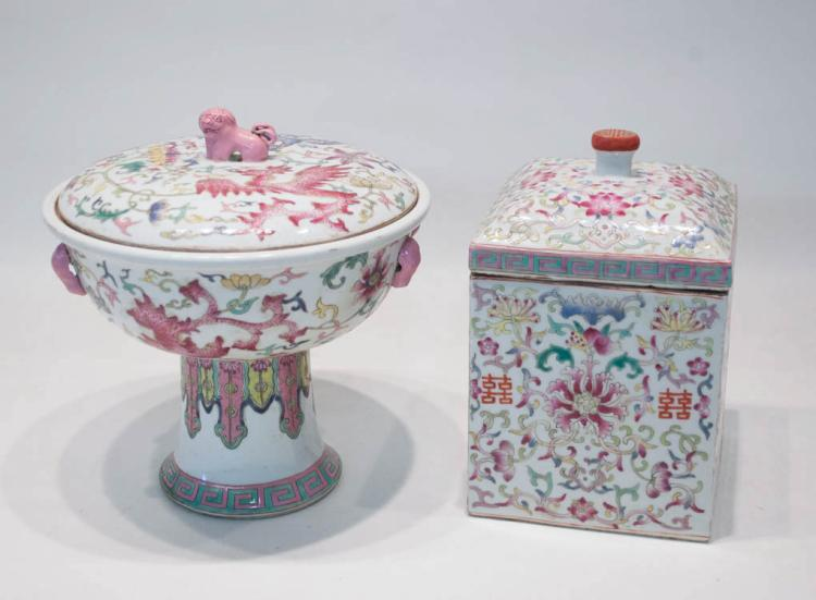 TWO CHINESE QING PORCELAIN LIDDED VESSELS, each Fa