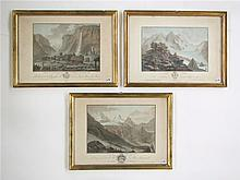 SWISS ALPS, THREE ENGRAVINGS AND AQUATINTS IN COLO