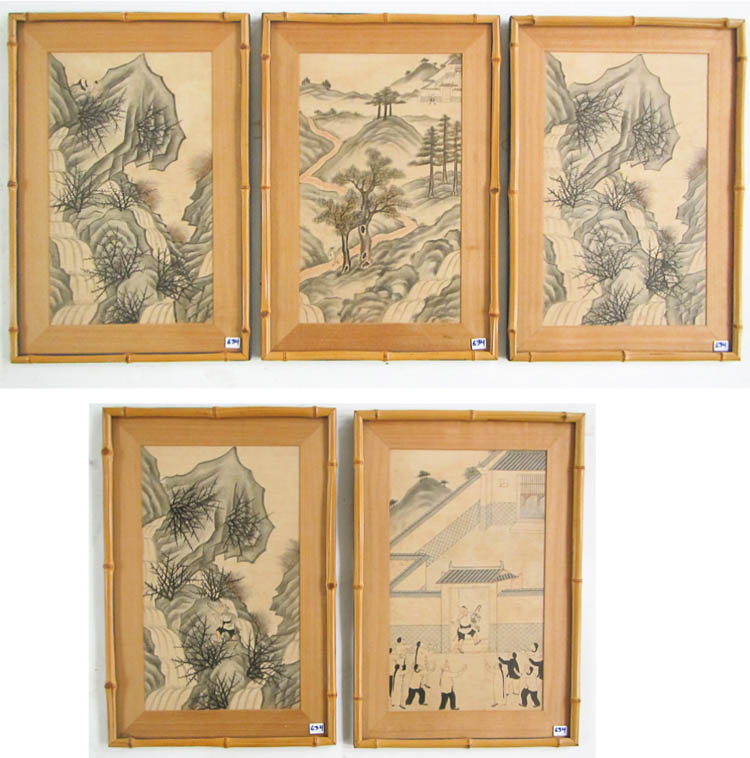 SET OF SEVEN CHINESE PAINTINGS ON FABRIC, illustra