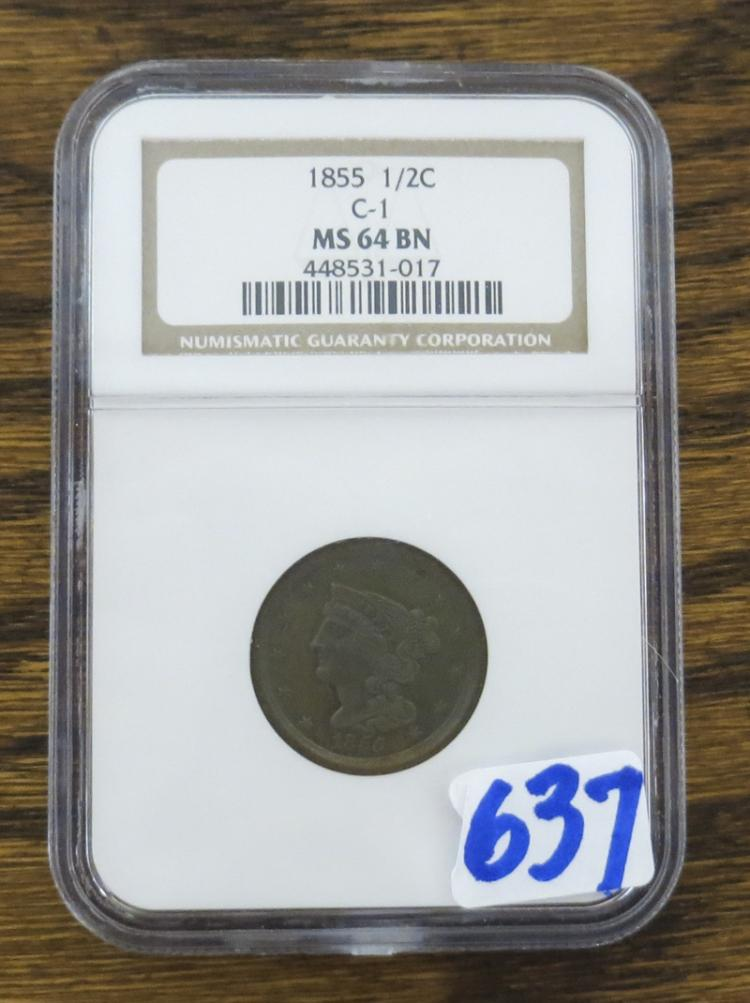 U.S. EARLY COPPER HALF CENT, Braided Hair type, 18