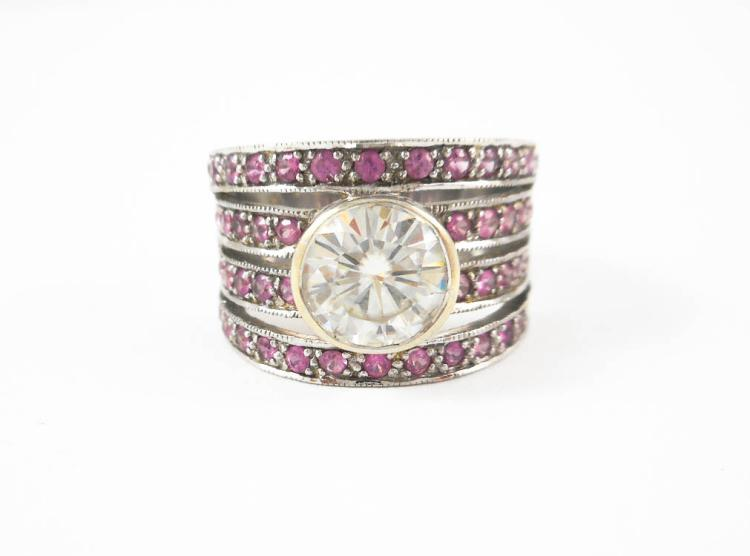 MOISSANITE, PINK SAPPHIRE AND WHITE GOLD RING. Th