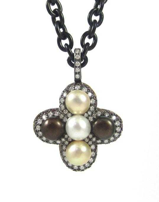 PEARL, DIAMOND AND RUBY PENDANT NECKLACE, suspende