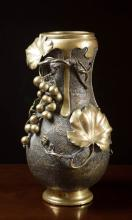 VICTORIAN BRONZE VASE of pear form with vine and g