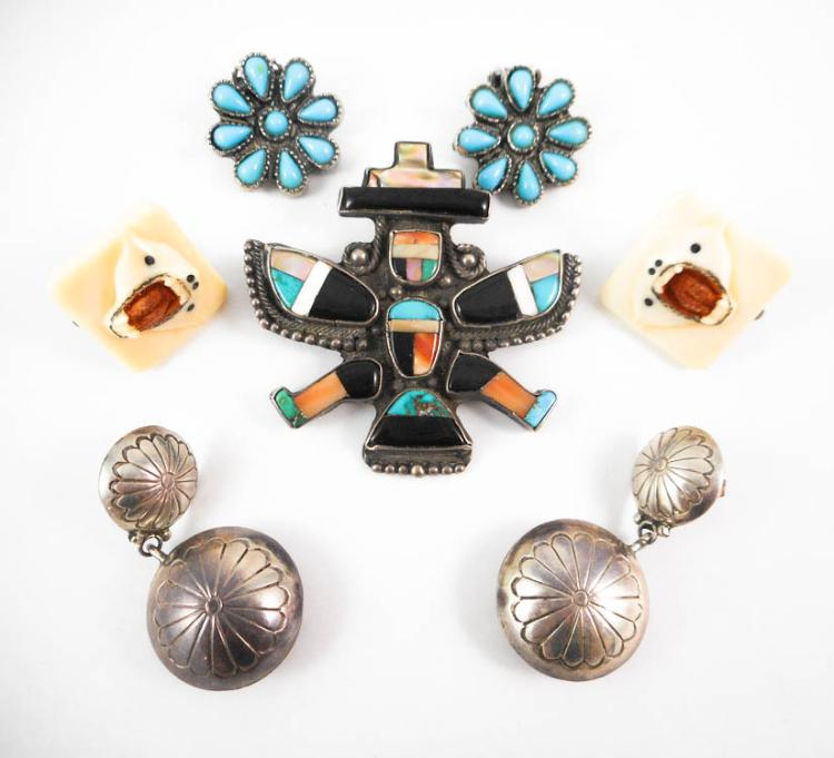 SEVEN PIECES NATIVE AMERICAN JEWELRY including a f