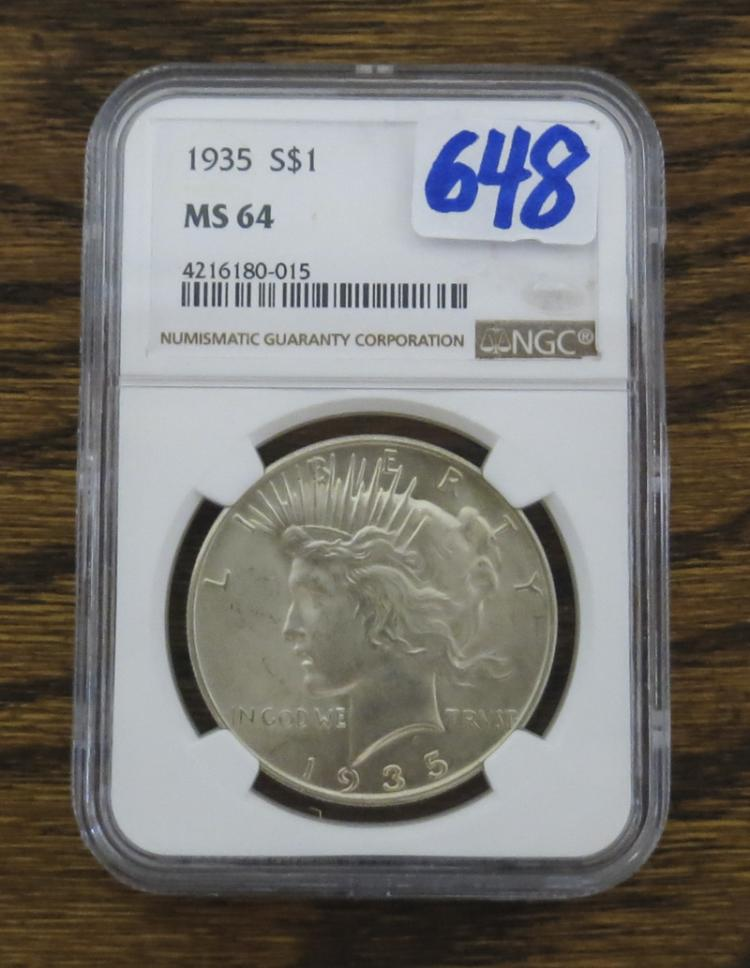 U.S. PEACE TYPE SILVER DOLLAR, 1935-P, NGC encapsu