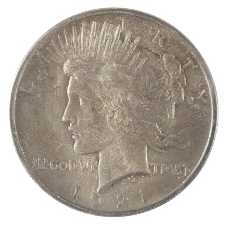 U.S. PEACE TYPE SILVER DOLLAR, 1921-P, ICG encapsu