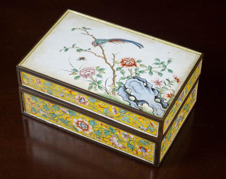 CHINESE CLOISONNE RECTANGULAR BOX, the lid with bi