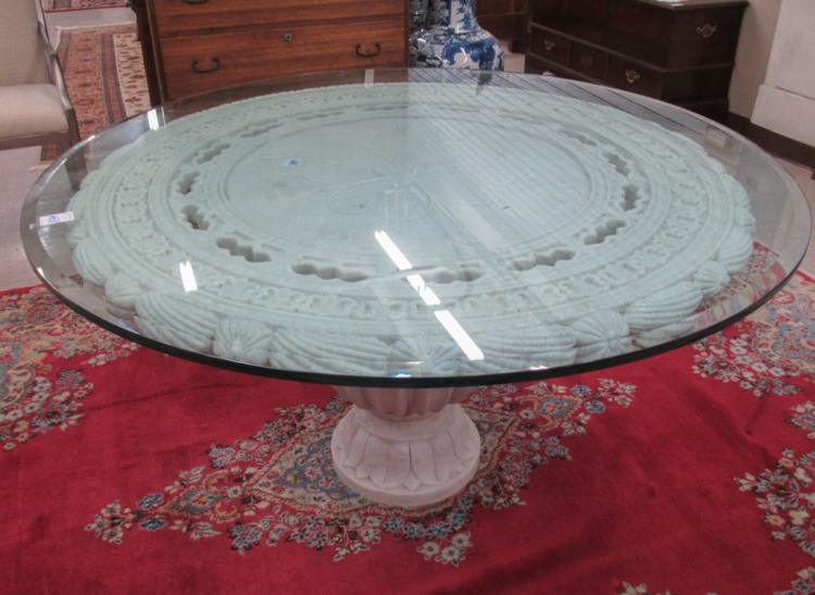 WHITE MARBLE PEDESTAL DINING TABLE, featuring a re