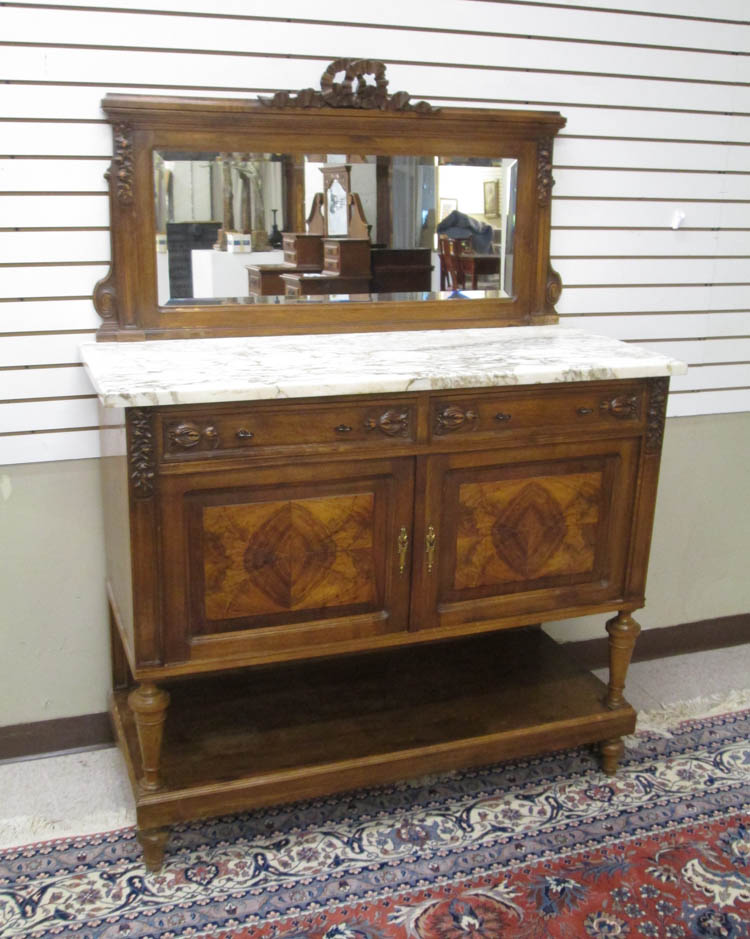 LOUIS XVI STYLE MARBLE-TOP BUFFET, French, c. 1900