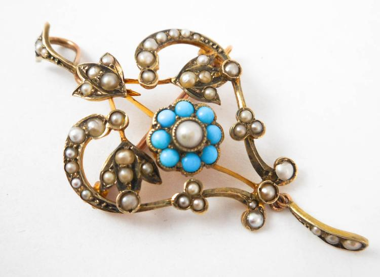 TURQUOISE AND SEED PEARL PENDANT/BROOCH, 9k gold s