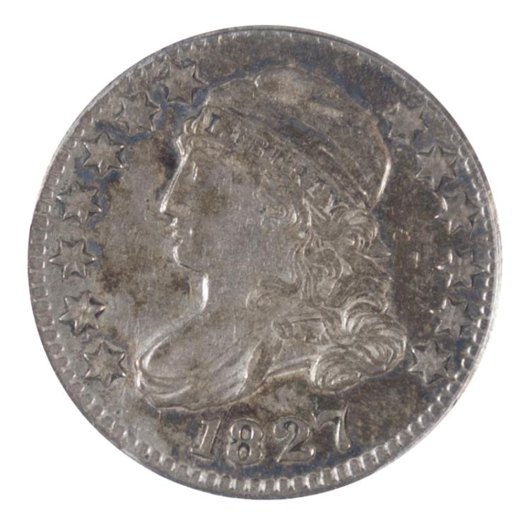 U.S. SILVER CAPPED BUST DIME, 1827-P, large type,