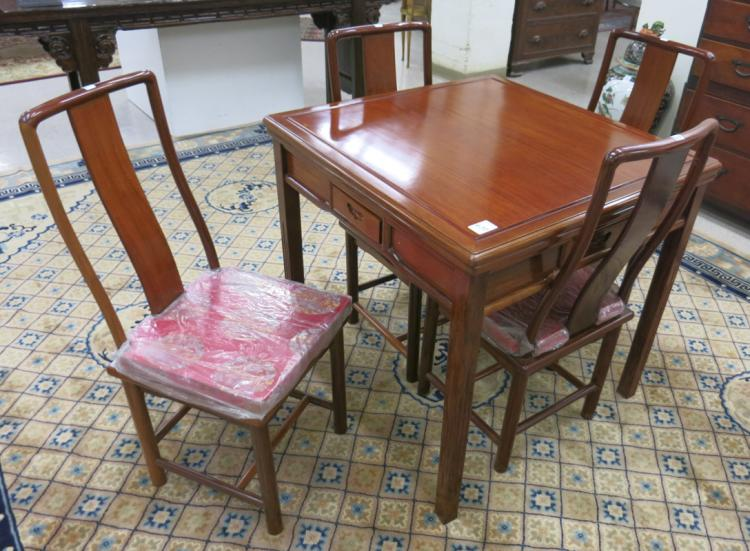 ROSEWOOD GAME TABLE AND CHAIR SET, Chinese, late 2