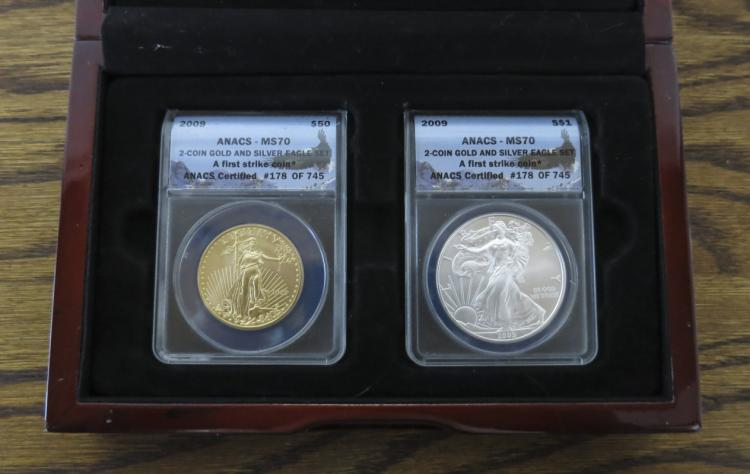 WOOD CASED 2009 AMERICAN GOLD AND SILVER EAGLE COI