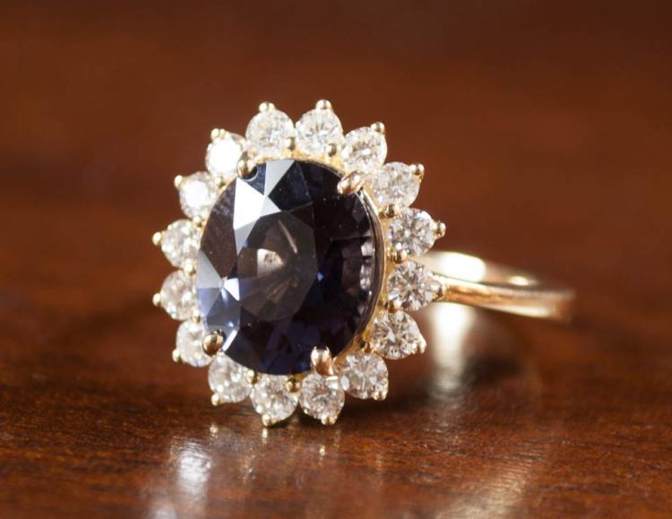 PURPLE SPINEL, DIAMOND AND FOURTEEN KARAT GOLD RIN