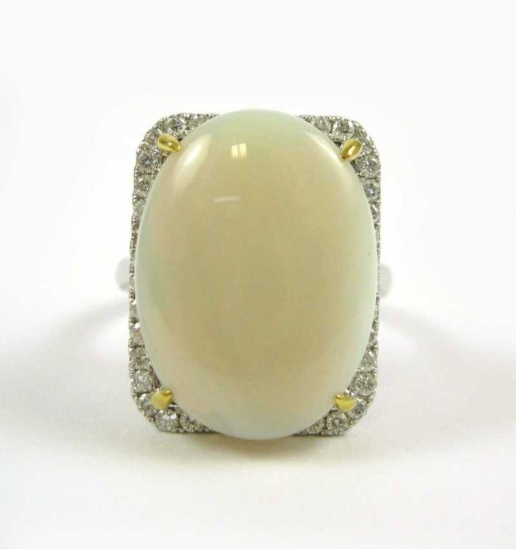 OPAL AND DIAMOND 14 KARAT WHITE AND YELLOW GOLD RI