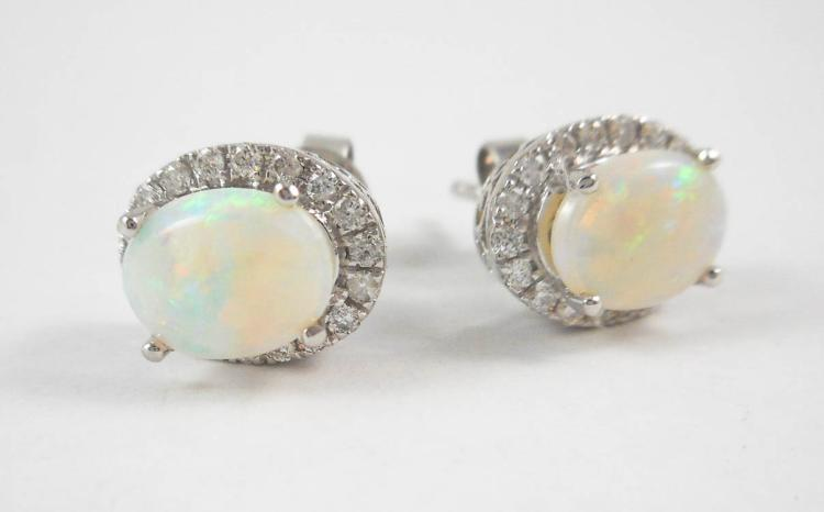 PAIR OF OPAL AND DIAMOND EAR STUDS, each 14k white