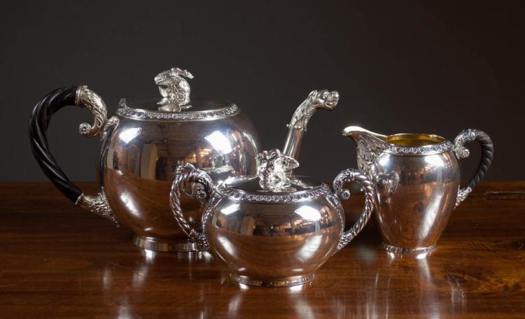 THREE PIECE GERMAN .800 FINE SILVER TEA SET, with