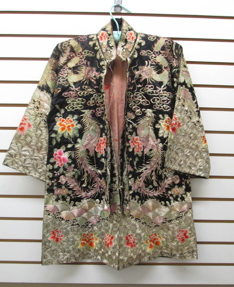 CHINESE EMBROIDERED SILK JACKET WITH APPRAISAL, 20