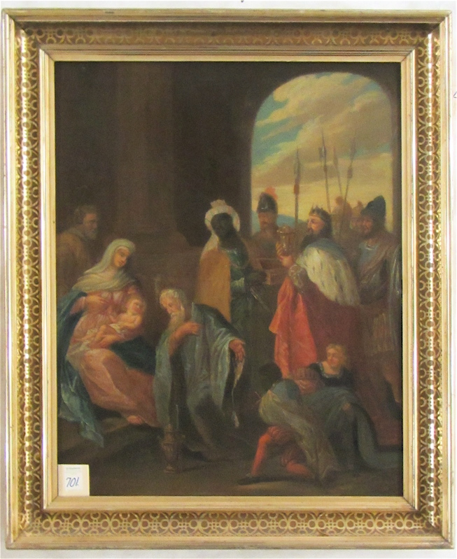 ADORATION OF THE MAGI OIL ON CANVAS, 19th century,