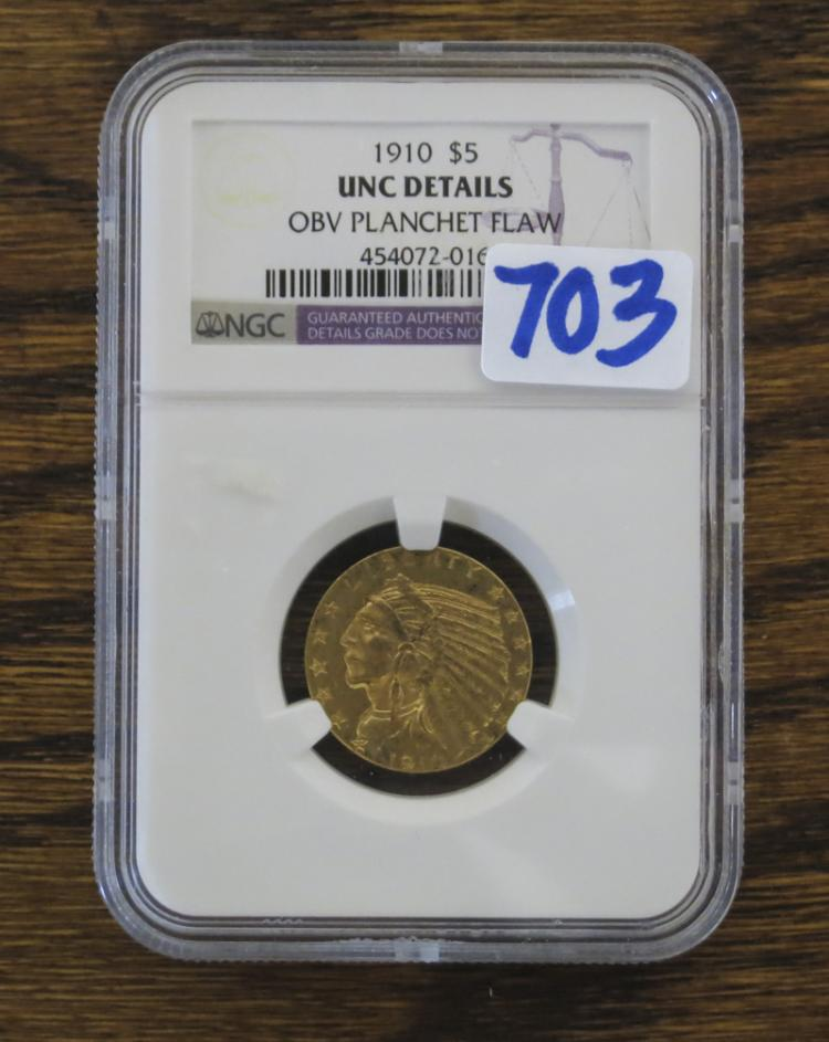 U.S. FIVE DOLLAR GOLD COIN, Indian head type, 1910