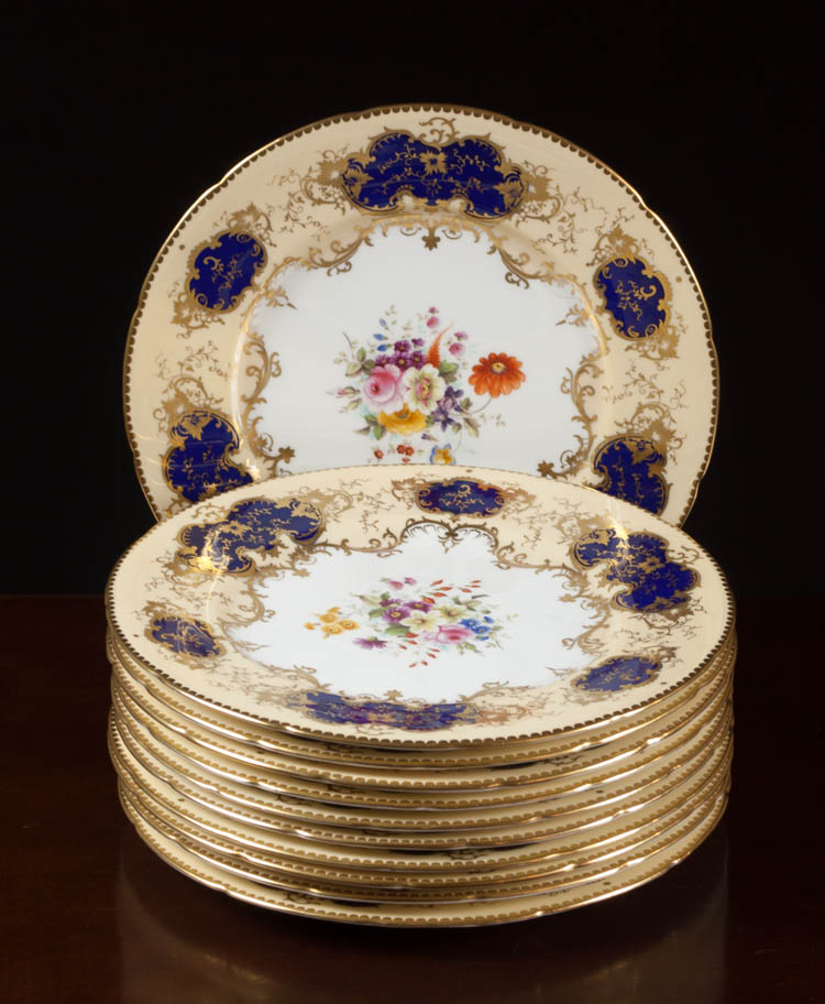 COALPORT FOR TIFFANY & CO. DINNER PLATES, eleven p