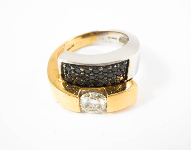MOISSANITE, BLACK DIAMOND AND FOURTEEN KARAT GOLD
