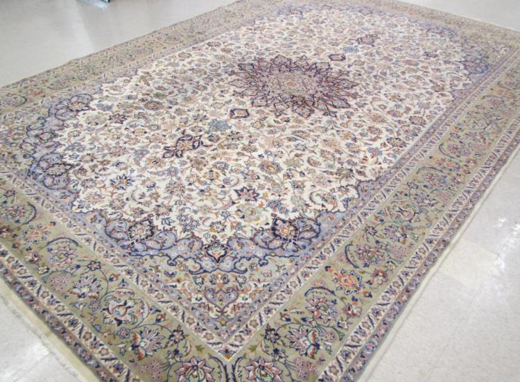 LARGE HAND KNOTTED PERSIAN CARPET, floral and cent