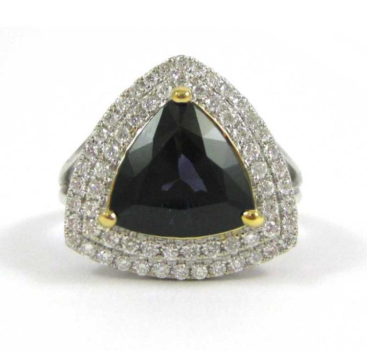 SPINEL, DIAMOND AND FOURTEEN KARAT GOLD RING.  The