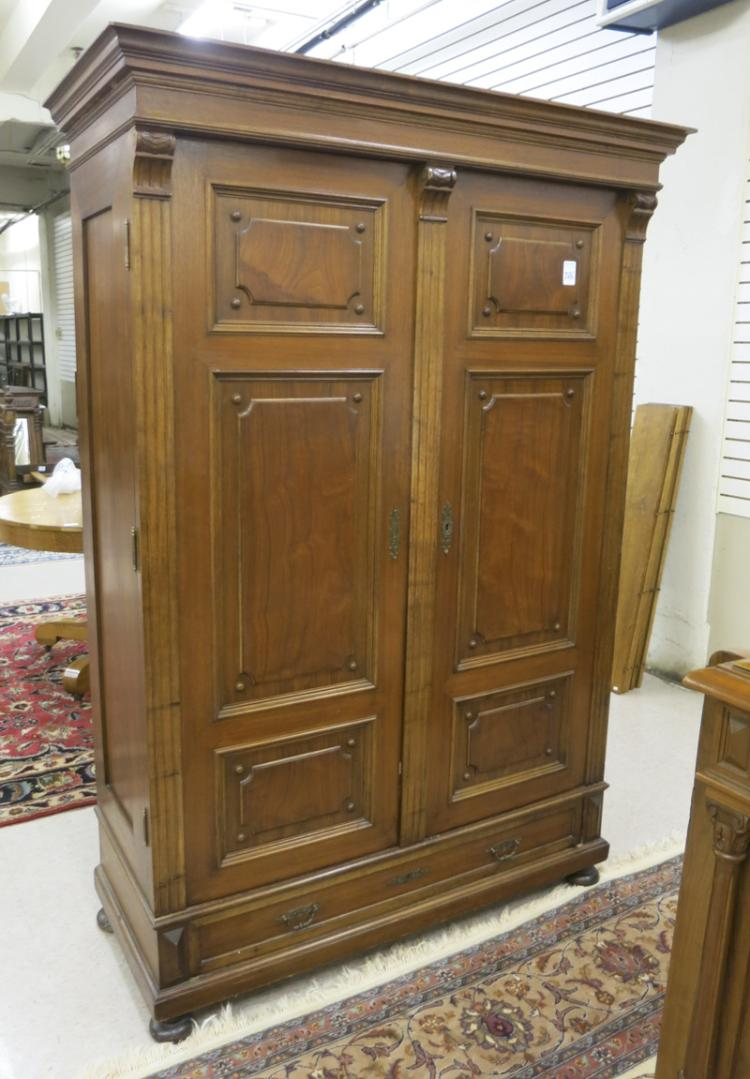 TWO-DOOR WALNUT WARDROBE, Vienna, Austria, late 19
