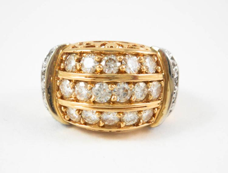 MOISSANITE, DIAMOND AND FOURTEEN KARAT GOLD RING,