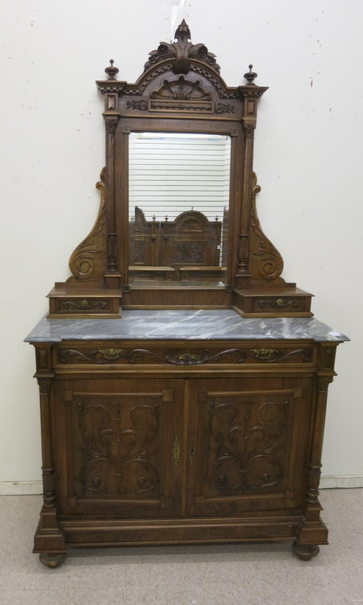 MARBLE-TOP WALNUT DRESSER, Austrian, 19th century,