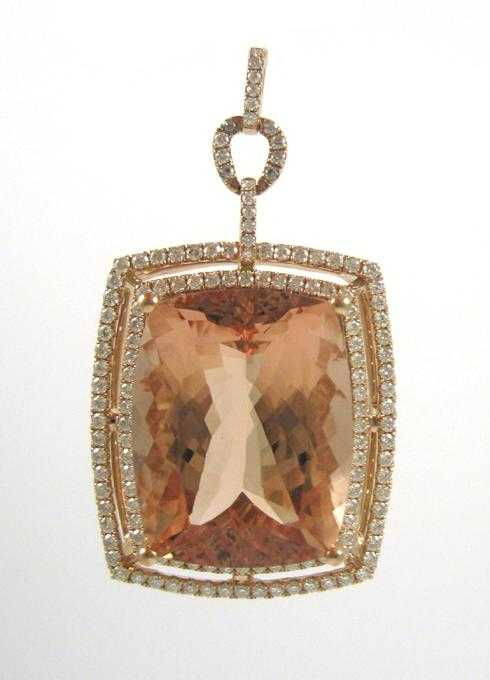 MORGANITE, DIAMOND AND ROSE GOLD PENDANT. The 14k