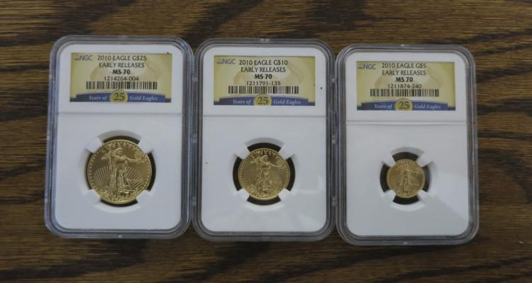 THREE-PIECE AMERICAN GOLD EAGLE COIN SET: 5 dolla