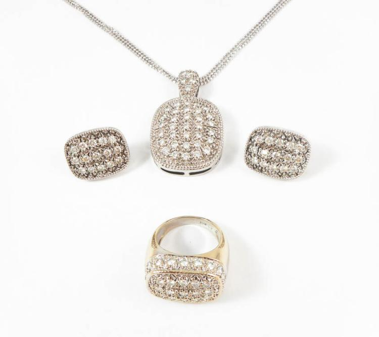FOUR PIECE MOISSANITE AND WHITE GOLD JEWELRY SET,