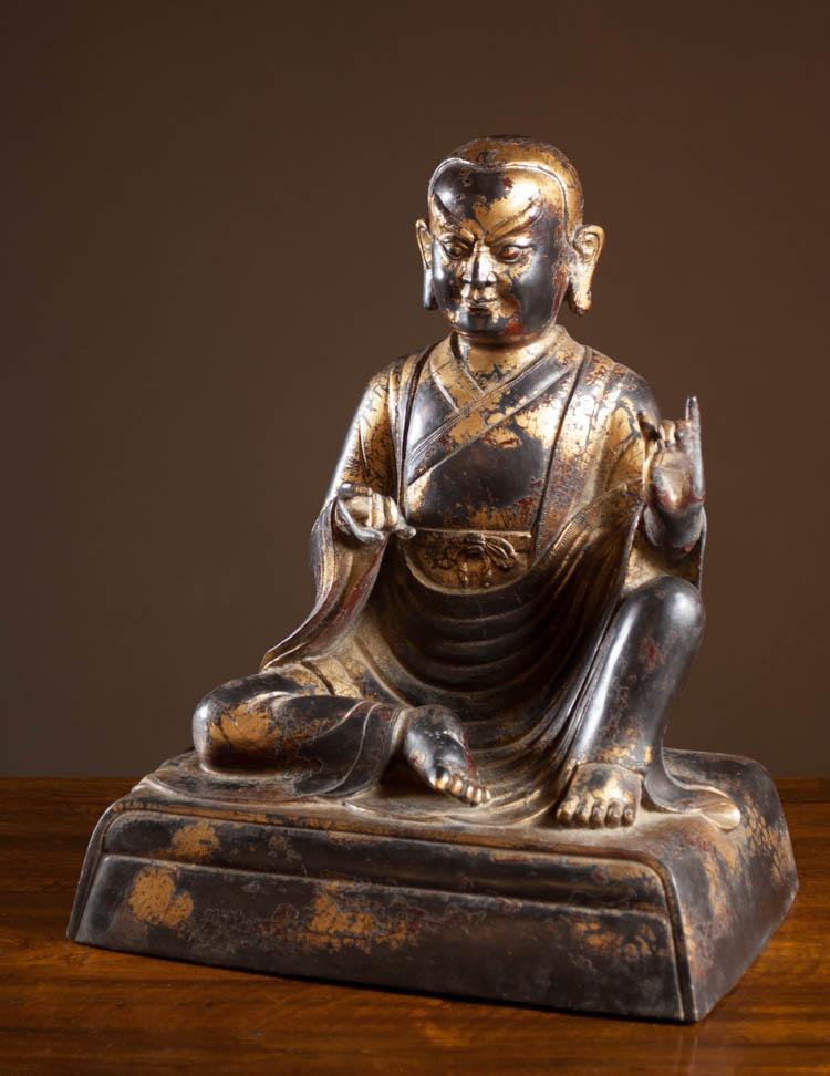 CHINESE QING PARCEL GILT BRONZE BUDDHA FIGURE seat