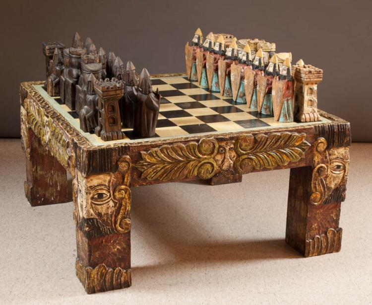 CARVED WOOD FOLK ART CHESS SET AND CHESSBOARD COFF