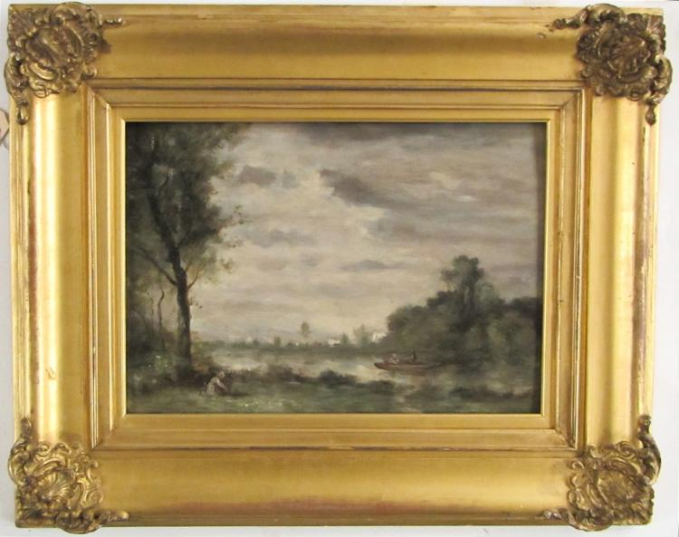 OIL ON BOARD OF A TONALIST LANDSCAPE WITH RIVER, i