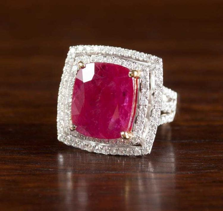 RUBY, DIAMOND AND FOURTEEN KARAT GOLD RING.  The w