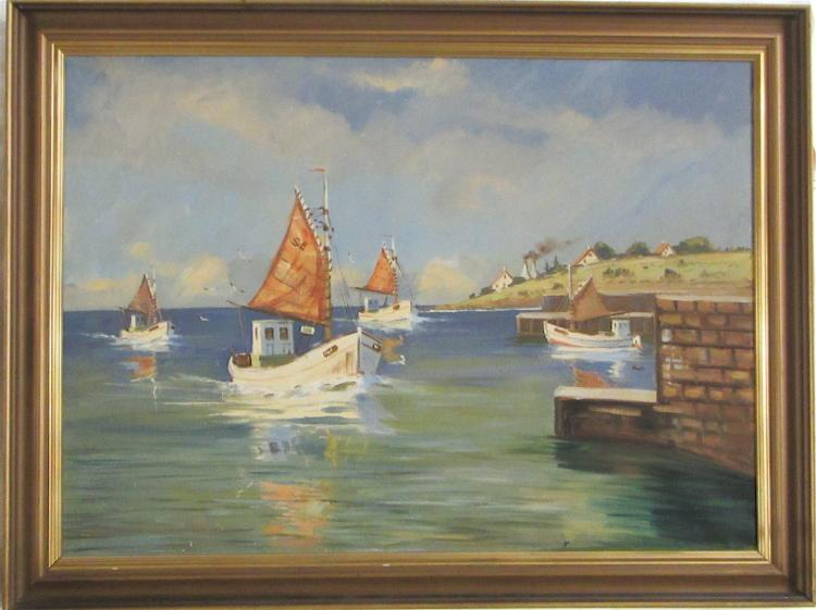 DUTCH MACKEREL BOATS OIL ON CANVAS, the sailboats