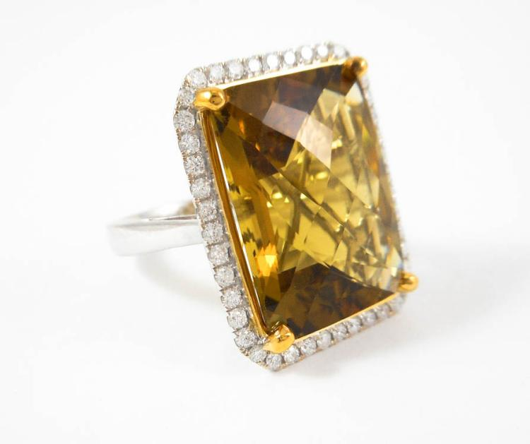 SMOKY CITRINE, DIAMOND AND FOURTEEN KARAT GOLD RIN