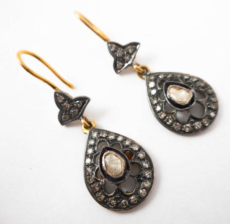 PAIR OF INDIA SILVER AND GOLD DANGLE EARRINGS, eac