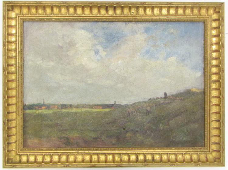 DUTCH LANDSCAPE, OIL ON CANVAS, a shepherd with sh